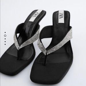 Zara jeweled sandals sz 7.5 black Nwt euro 38